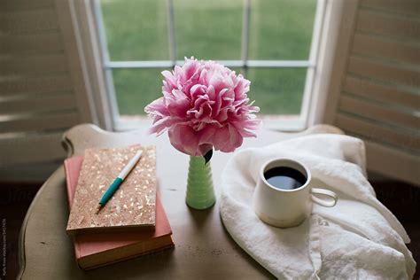 journal book coffee  flower   desk  kelly knox