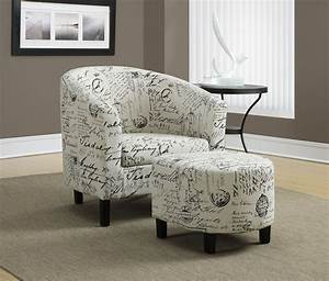 Vintage, French, Fabric, Accent, Chair, With, Ottoman, From, Monarch, 8058