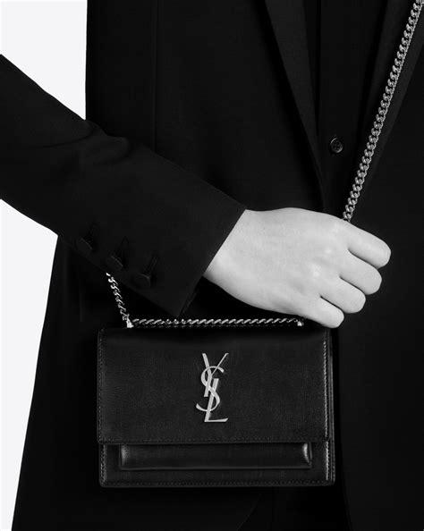 saint laurent sunset chain wallet  black leather yslcom