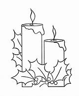 Coloring Christmas Holly Pages Candle Candles Printable Drawing Sheet Berry Scene Colouring Easy Pencil Sheets Draw Navidad Holiday Border Google sketch template