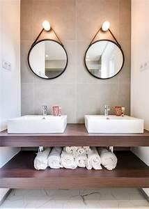 miroir salle de bains inspiration deco cote maison With miroir salle de bain rond bois