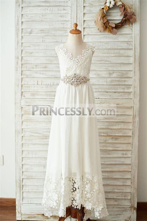Boho Beach Lace Chiffon Backless Long Wedding Flower Girl