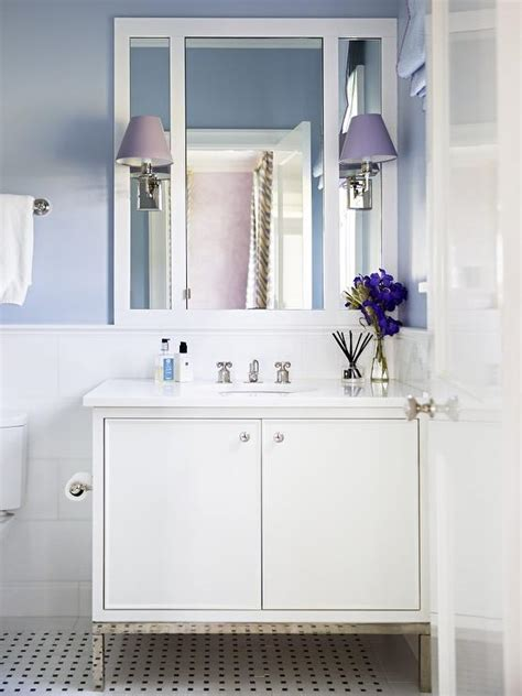 white  blue bathroom  purple accents transitional