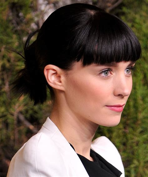 rooney mara casual long straight updo hairstyle  blunt
