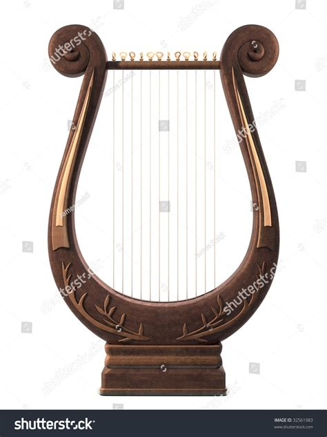 stringed lyre musical instrument on white stock photo