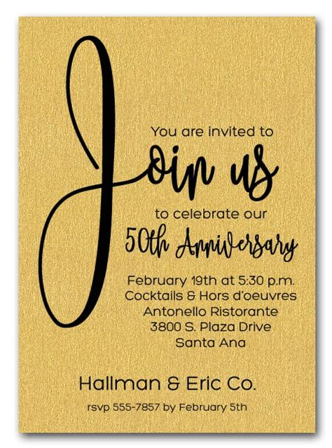 join  shimmery gold business anniversary party invitations