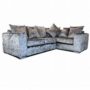 elstra crushed velvet corner sofa grey fabric l shaped With crushed velvet sectional sofa