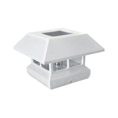 solar lights for deck posts home depot veranda 4 in x 4 in white solar powered post cap 2211
