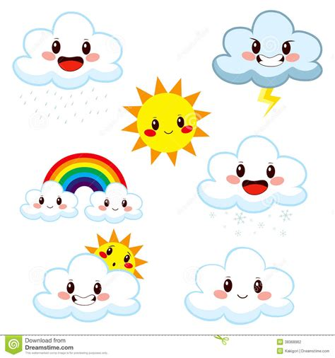 cute weather elements collection stock vector