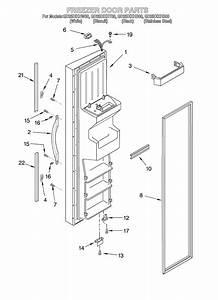 Freezer Door Diagram  U0026 Parts List For Model Gd25dixhs00