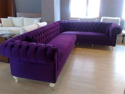 Living Room With Purple Sofa by Velvet Chesterfield Style Corner Sofa Purple Modern