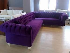 Velvet chesterfield style corner sofa purple modern for Modern purple sectional sofa