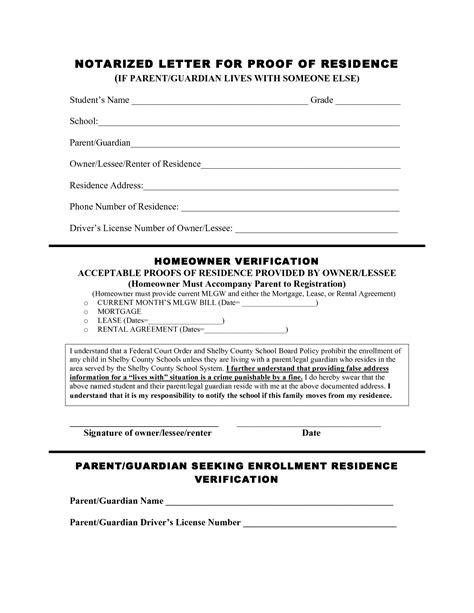 proof of residency letter for school