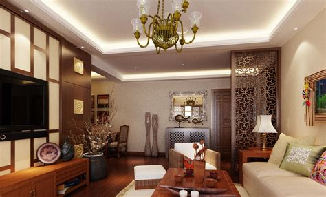 Asian Style Living Room Design With Traditional Decoration