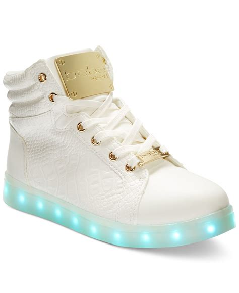 light up high tops bebe sport keene light up high top sneakers in white lyst