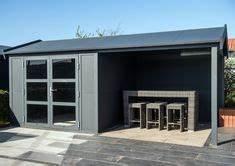 Gartenhaus Grau Modern : outdoor cabin aluminium tuinhuis met overkapping aan de linkerzijde q s gartendeco tuinhuis ~ Buech-reservation.com Haus und Dekorationen