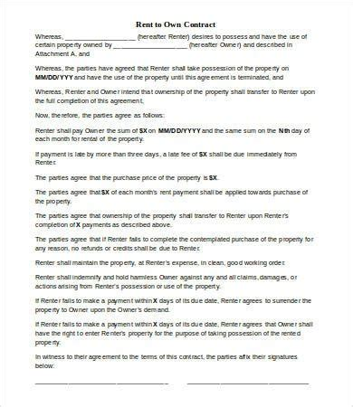 rent   contract template  word  documents