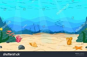 Cartoon Sea Ocean Seabed Game Horizontal Stock Vector ...