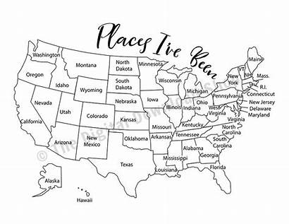 Map Been Places Coloring Printable Ve Usa