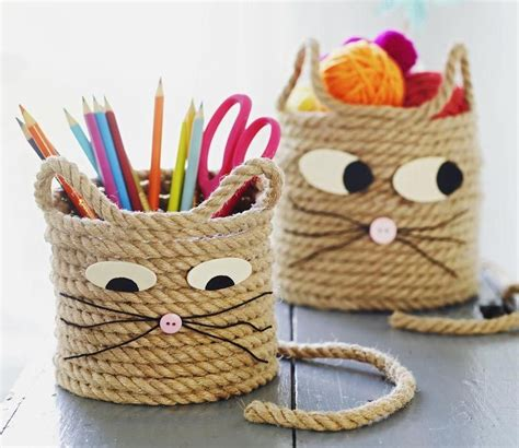 easy craft  kids cat storage baskets crafts