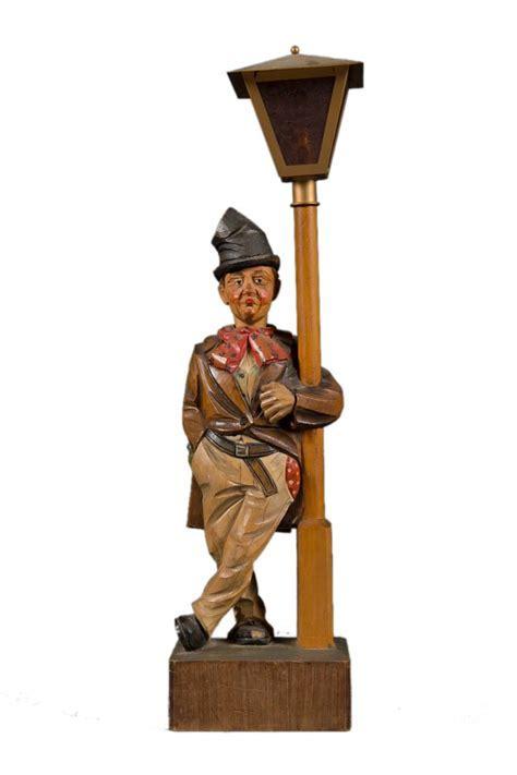 Vintage German Karl Griesbaum Automation Wood Carved Lamp