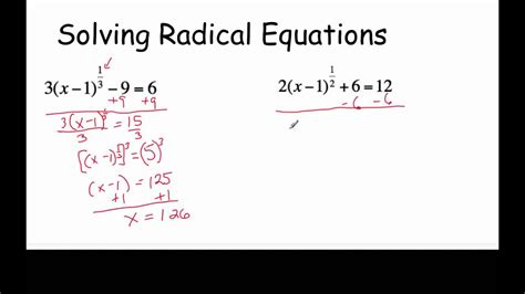 Solving Radical Equations With Fractional Exponents Youtube