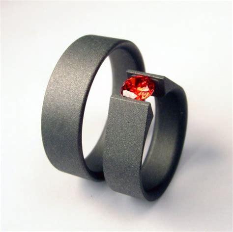 matte titanium wedding ring matte titanium tension set ring and s band set 449 00