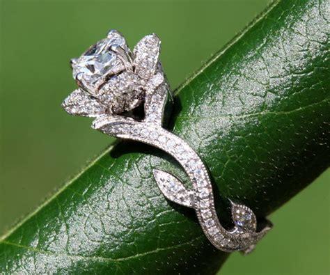 blooming work of art platinum flower rose lotus diamond engagement ring leaf beautiful