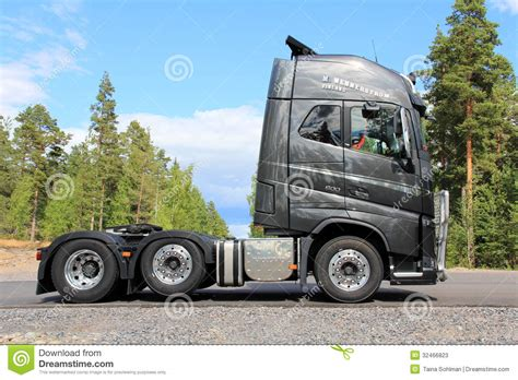 what s the new volvo commercial about new volvo fh16 600 truck of graphite color editorial stock