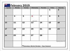Calendar February 2019, New Zealand Michel Zbinden en