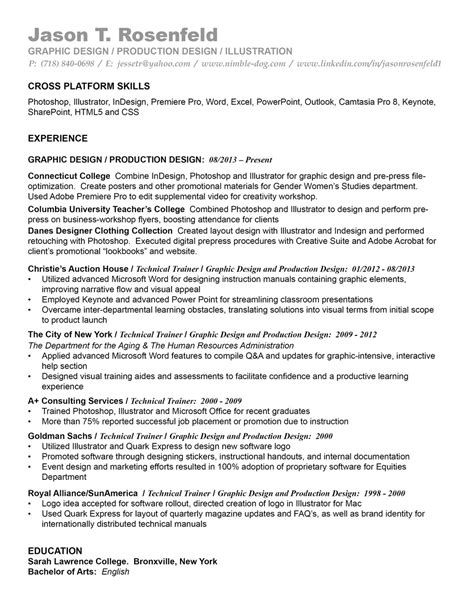Production Designer Resume by Professional History Resume