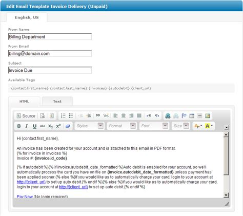 invoice email template invoice delivery unpaid user manual confluence