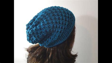 loom knit  slouchy beanie hat diy tutorial youtube
