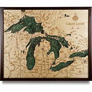 Great Lakes Wood Map Large 3D Nautical Topographic Chart