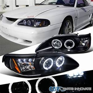 1994-1998 Ford Mustang GT Cobra Black LED Halo Projector Headlights | eBay