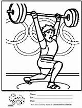 Coloring Pages Weight Lifting Weights Activities Olympic Printable Olympics Crossfit Loss Healthy Heart Exercise Children Crafts Habits Kid Sports Getcolorings sketch template