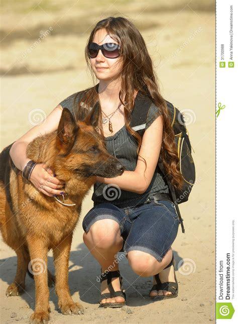teen girl  shepherd royalty  stock  image