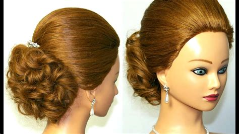easy prom bridal updo hairstyle for medium long hair