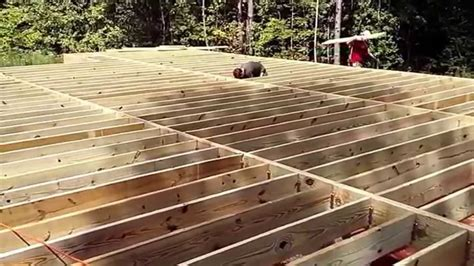12x16 shed floor joist cabin in the woods