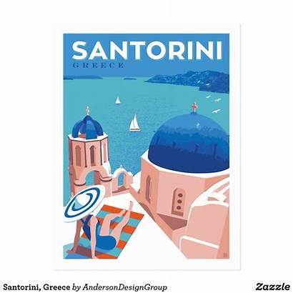 Greece Postcard Santorini Zazzle Travel