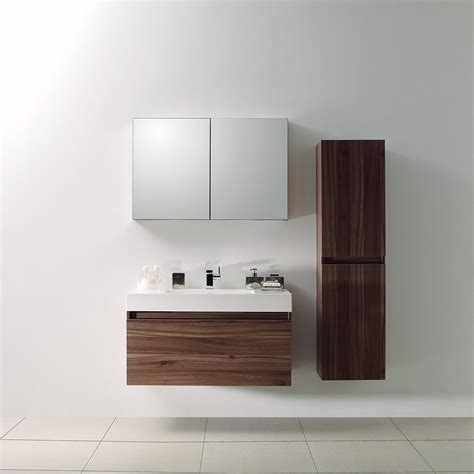 Bathroom Unit Design by Lusso Bagno Walnut Designer Bathroom Wall Mounted
