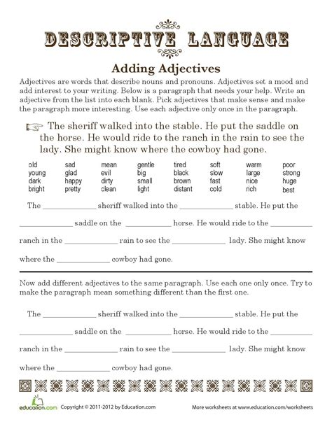 time to saddle up some adjectives descriptive language