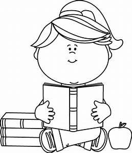 Black and White Little Girl Reading a School Book Clip Art ...