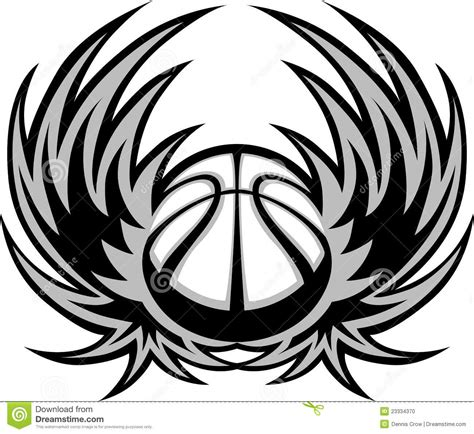 basketball template basketball template with wings stock vector image 23334370