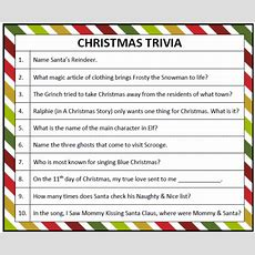 Printable Christmas Trivia Game  Christmas Trivia Games, Trivia Games And Trivia