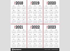 Vector de calendario año 2018 2019 2020 2021 2022 2023