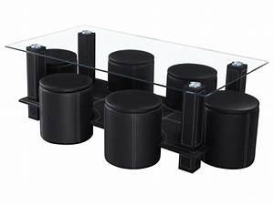 Table Basse Pouf Intégré : table basse rectangulaire en verre amanda avec 6 poufs 68045 ~ Dallasstarsshop.com Idées de Décoration