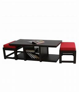 arra rectangular coffee table with 2 cushioned stools With rectangular coffee table with stools