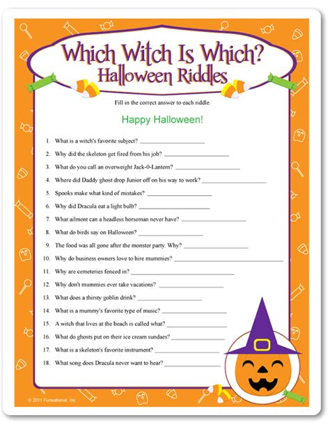Halloween Jokes Riddles Adults by Printable Which Witch Is Which Halloween Riddles