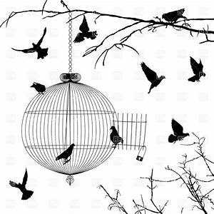 Old round birdcage and silhouettes of birds on branches ...